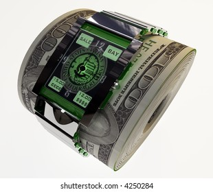 Hours on a roll of money 3d on white background