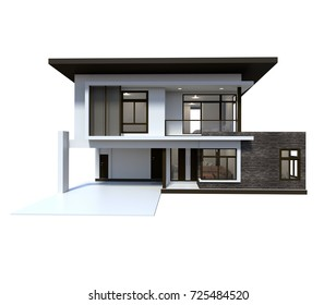 House 3d modern and luxury rendering on white background.