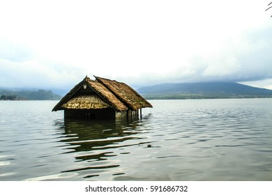House after floods in lake