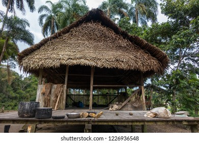 House in an amazonian village in the Cuyabeno Natural Reserve, Amazon Rainforest, Ecuador