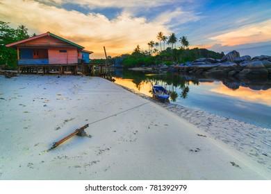 House and anoe fishermen village bintan island