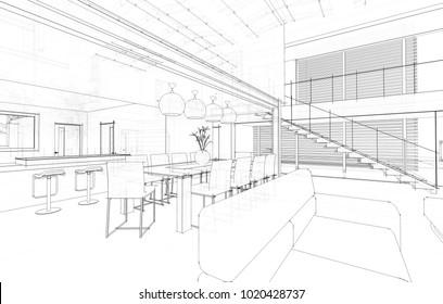 house architecture 3d illustration