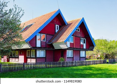 House architecture in Nida resort town near Klaipeda in Neringa in the the Baltic Sea and the Curonian Spit in Lithuania.