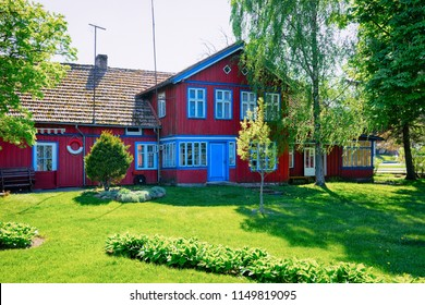 House architecture at Nida resort town near Klaipeda in Neringa in the the Baltic Sea and the Curonian Spit in Lithuania.