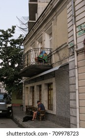 House with balcony. Yalta, Crimea - 11 July, 2017. Streets and embankments of the seaside city of Yalta.