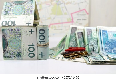House with banknotes - concept, the cost of building a house