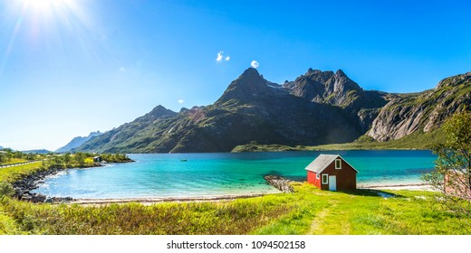 House, Beach, Trollfjord, Lofoten, Norway