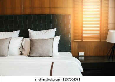 house beautiful design concept with soft cozy pillow on bed in bedroom