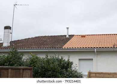 House before and after dirty roof facade wash