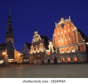 House Of The Blackheads At Night, Old Town, Riga, Latvia