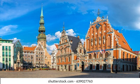 House of the Blackheads in Riga in a beautiful summer day, Latvia
