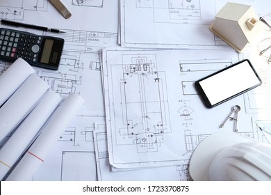 house blueprint of real estate project at architect engineer  workplace. building and construction concept