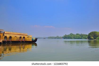 House boats in Ashtamudi lake in Kollam.