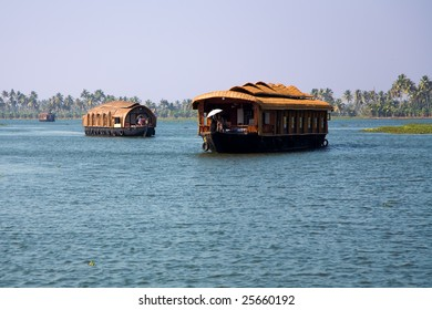 House boats in the river of Kerala in India