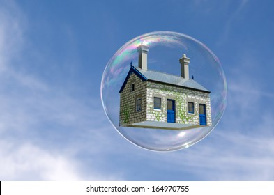 House in a bubble fly in the air. Concept photo of Real estate market bubble, housing market, subprime mortgage crisis Home loans, Mortgage loans. No people. Copy Space