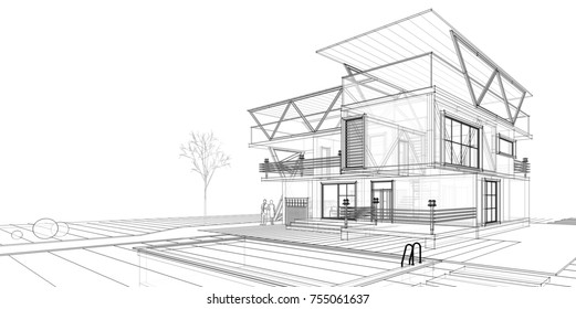house building, 3d illustration