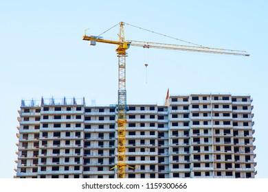 house building, crane