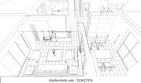 house building sketch, 3d illustration