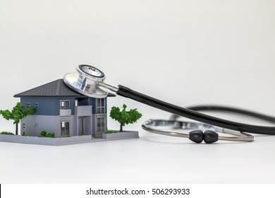 house building and stethoscope, home inspection concept