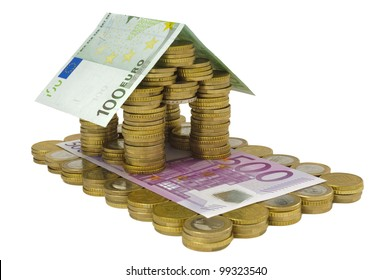 house built with euro currency