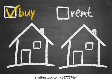 House to buy or for rent concept with chalk on blackboard