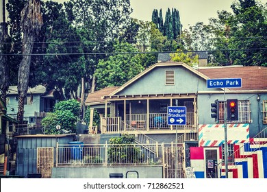 House by Dodgers Stadium, Los Angeles. California, USA