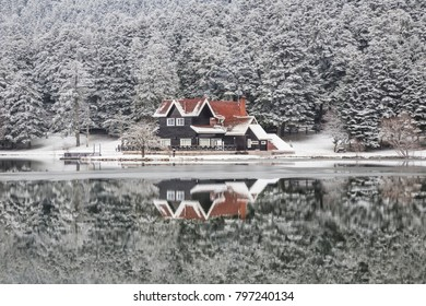 A house by lake with reflection in winter