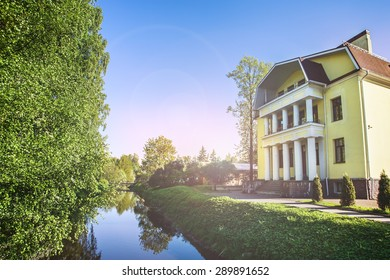 house by the river summer summertime spring sunset
