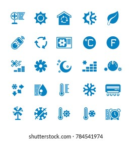 House and car air conditioning, heating and cooling icons. Cooling conditioner, thermometer and fan, temperature conditioning illustration