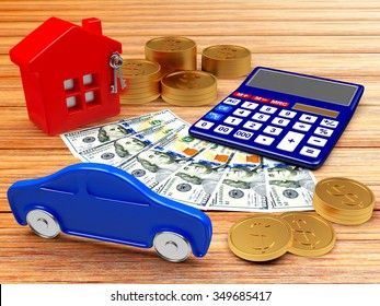 House, car and calculator with money on wood background