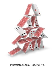House of cards 3D falling down, isolated on white