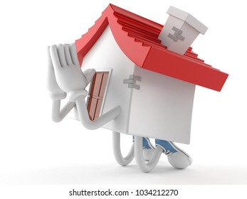 House character prying on white background. 3d illustration