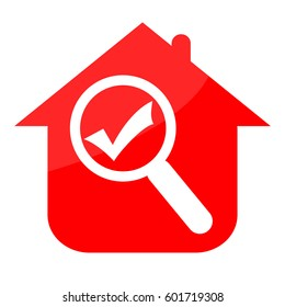 House with check mark and magnifier glass