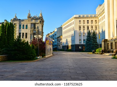 House with Chimaeras and Office building of the President of Ukraine in the historic Lypky neighborhood of Kyiv