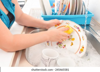 House chores - Washing the dishes on the kitchen sink