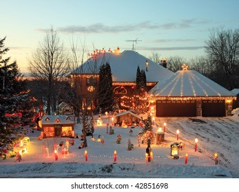 House with Christmas lights in Minnesota