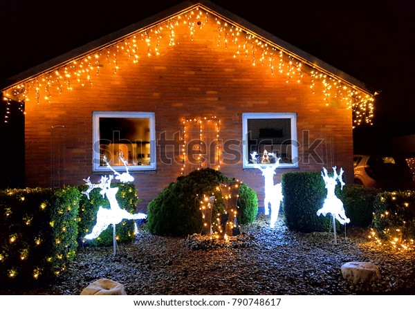House With Christmas Lights.House Christmas Lights Outside Stock Photo Edit Now 790748617