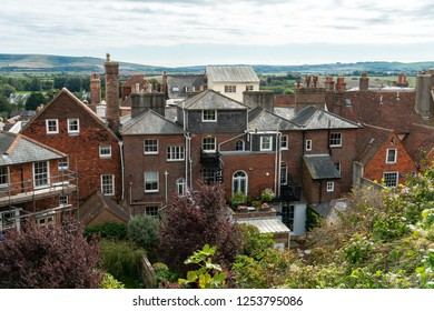 House and the city around and outside of Lewes Castle, East Sussex, Barbican House Lewes England. The old vintage historical city town for visit and travelerใ