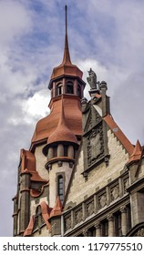 House city offices Sadovaya St, 55-57 Sankt-Peterburg. Municipal institutions building. The facade is made in a mixed style of Gothic and Art Nouveau - Eclecticism. Alexander Lishnevsky architect.