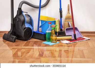 House cleaning -Cleaning accessories on floor room