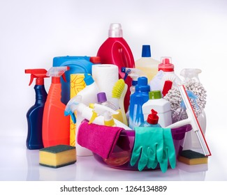 House cleaning concept, cleaning tools and supplies