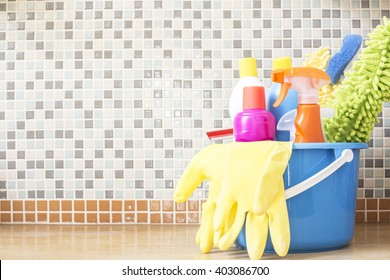 House cleaning product on the table