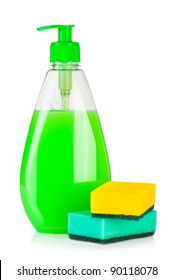 House cleaning product. Plastic bottle with detergent and sponge isolated on white background