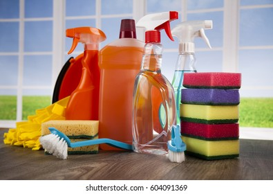House cleaning with various cleaning tools