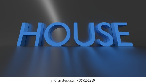 House concept word - blue text on grey background.
