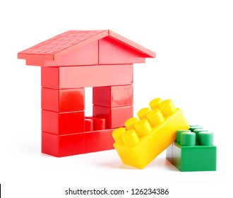 The house construction by lego blocks.