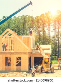House construction framing stage in North Carolina, USA