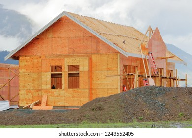 House construction and the shell of an extension that will be part of a modern residential home.