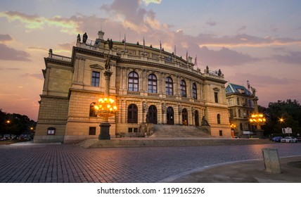 House of the Czech Philharmonic and opera house  - Rudolfinum in Prague, Czech Republic at dusk with a beautiful lights. Sunset