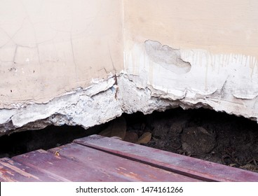 house is damaged with ground subsidence under building structure Problems of house construction.
